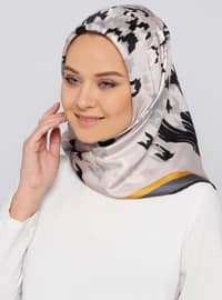 Smoke-coloured - Printed - %100 Silk - Scarf