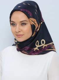 Navy Blue - Printed - %100 Silk - Scarf