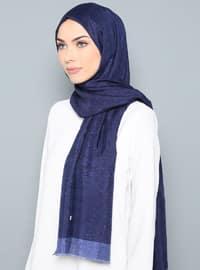 Navy Blue - Plain - %100 Silk - Shawl