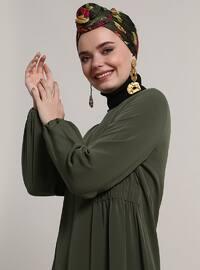 Khaki - Crew neck - Unlined - Dresses