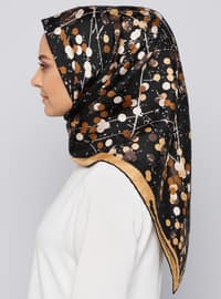 Golden tone - Printed - %100 Silk - Scarf