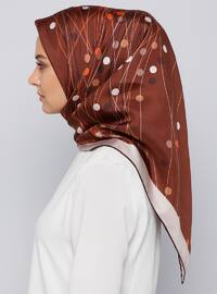 Brown - Printed - %100 Silk - Scarf