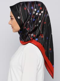 Red - Printed - %100 Silk - Scarf