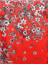 Red - Printed - %100 Silk - Scarf