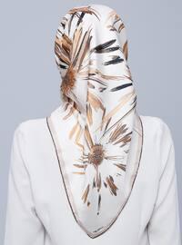 Cream - Printed - %100 Silk - Scarf