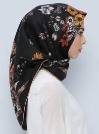 Black - Printed - %100 Silk - Scarf