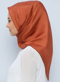 Tan - Plain - %100 Silk - Scarf