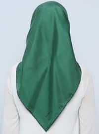 Green - Plain - %100 Silk - Scarf