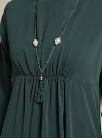 Green - Emerald - Crew neck - Unlined - Dresses