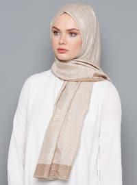 Beige - Plain - Silk Blend - Cotton - Shawl