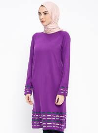 Purple - Crew neck - Wool Blend - Acrylic -  - Tunic