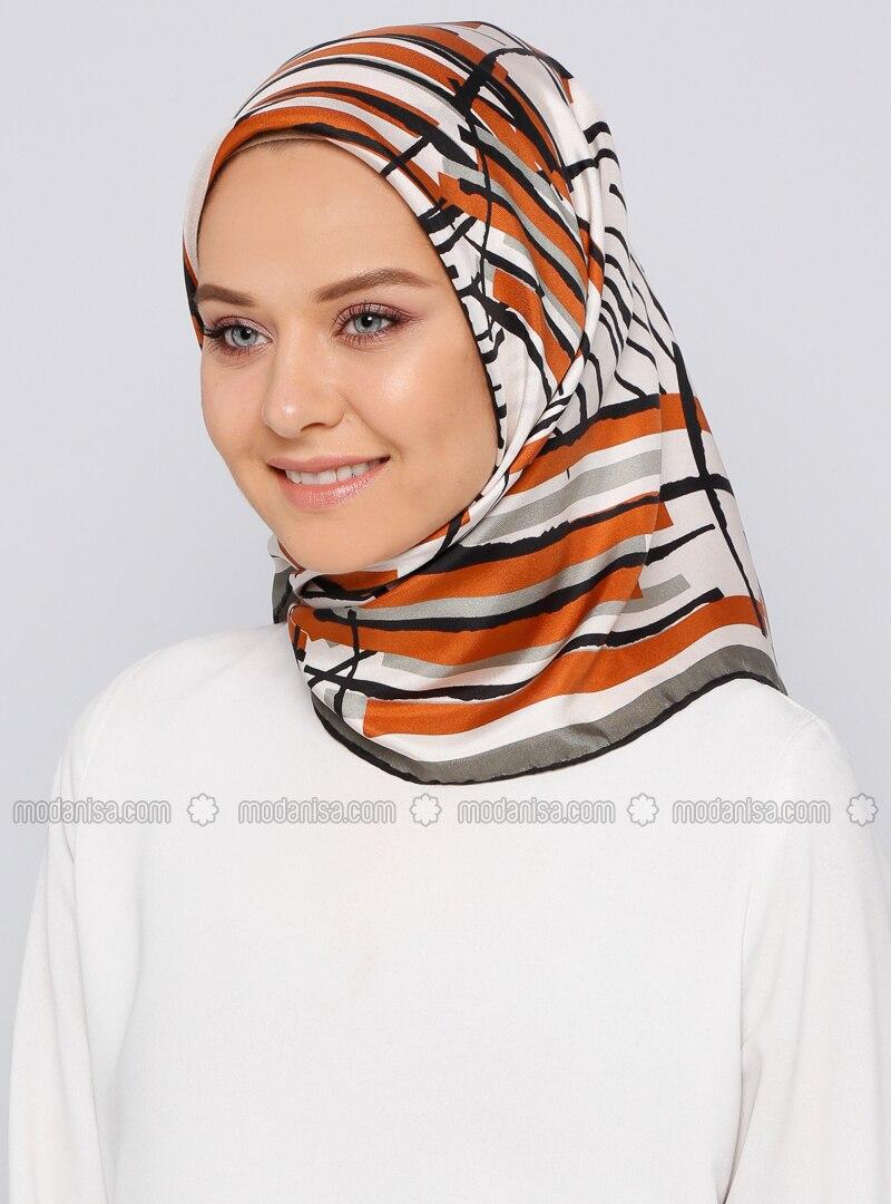 Khaki - Printed - %100 Silk - Scarf