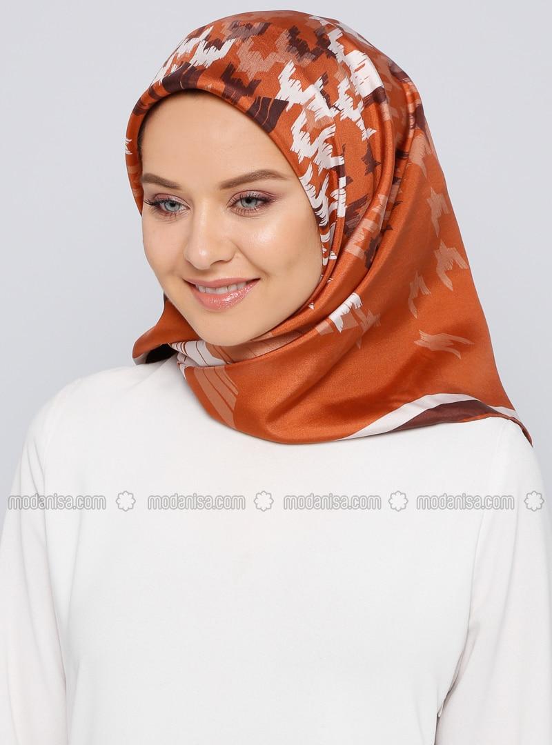 Brown - Printed - %100 Silk - Scarf