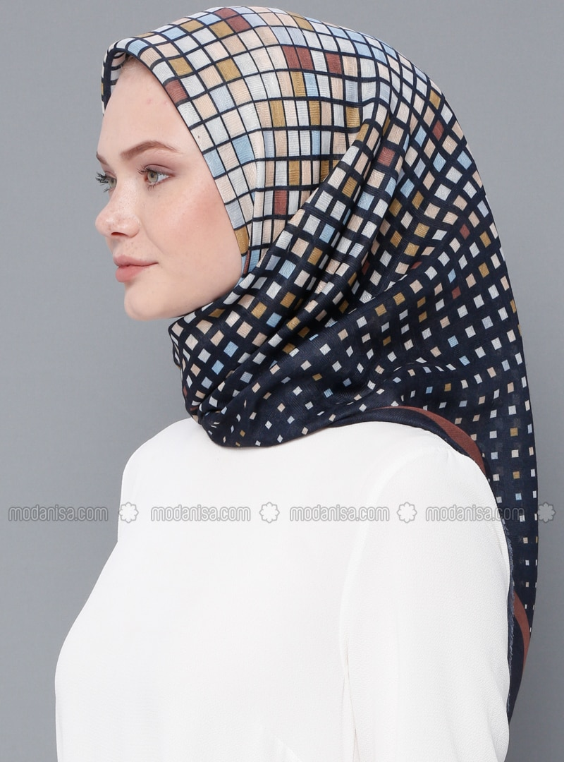 Navy Blue - Printed - Cotton - Scarf