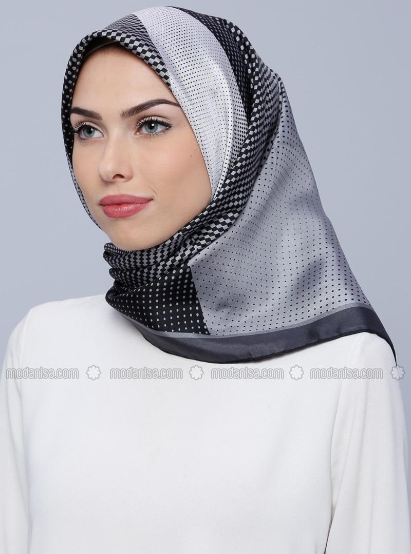 Gray - Printed - %100 Silk - Scarf