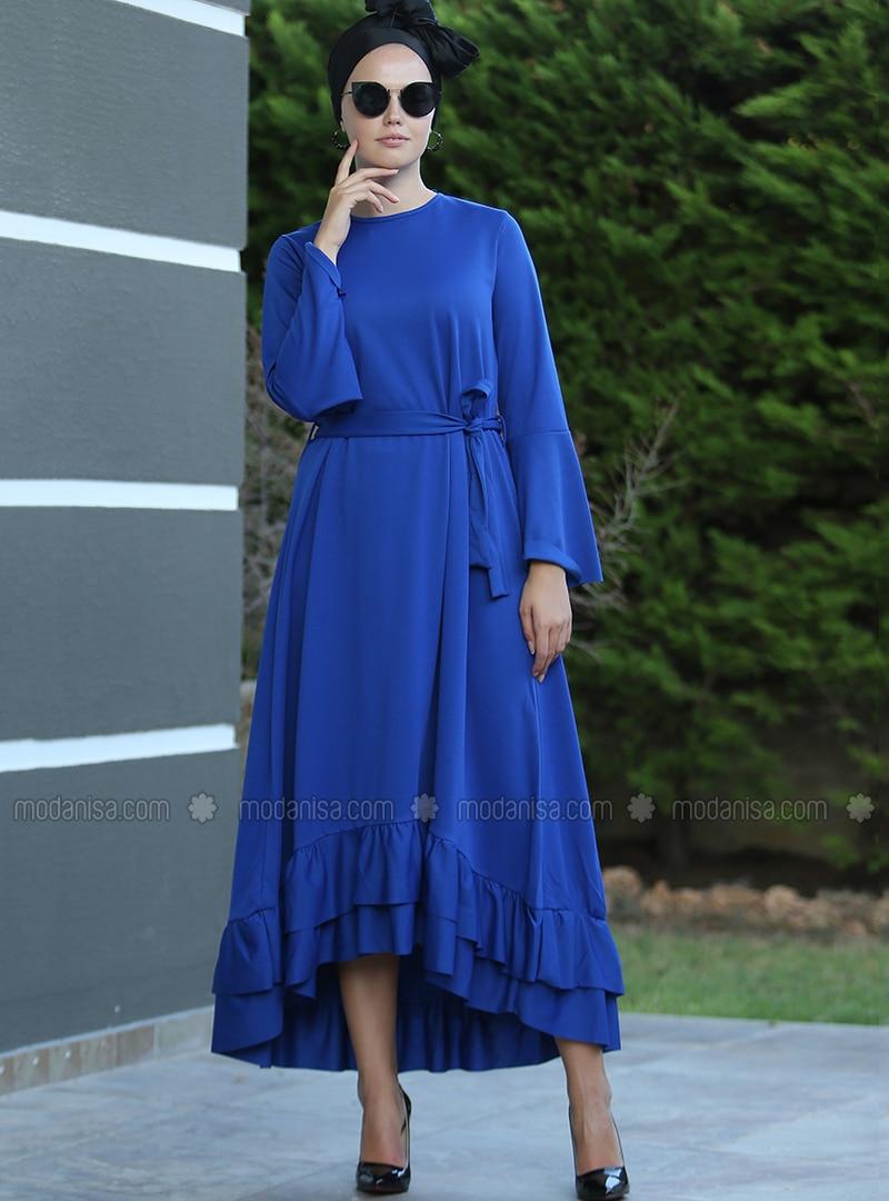 royalblau - rundhalsausschnitt - ohne innenfutter - hijab kleid