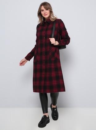 Maroon - Plaid - Point Collar - Cotton - Plus Size Tunic