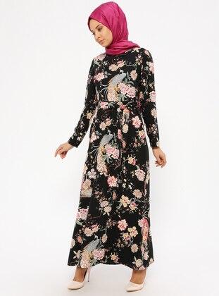 Black – Floral – Crew Neck – Unlined – Dresses – Zenane