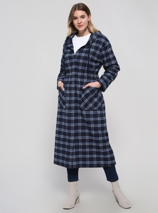 Navy Blue - Plaid - Unlined - Cotton - Plus Size Coat