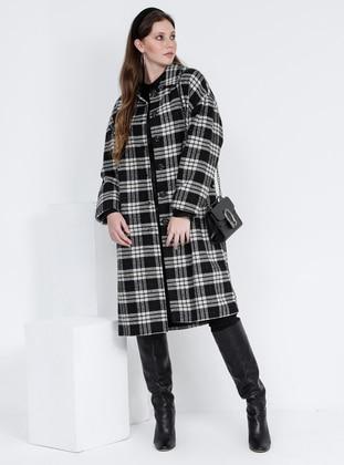 Black - Khaki - Plaid - Fully Lined - Plus Size Overcoat