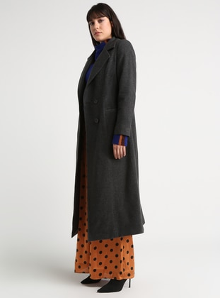 Gray - Anthracite - Fully Lined - Shawl Collar - Viscose - Coat