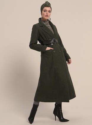 Khaki - Fully Lined - Shawl Collar - Viscose - Coat