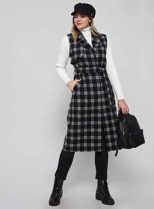 Black - Plaid - Shawl Collar - Plus Size Vest