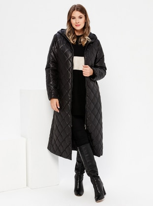 Black - Fully Lined - Plus Size Overcoat - Alia