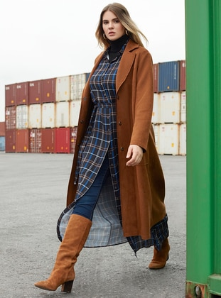 Camel - Unlined - Point Collar - Plus Size Coat