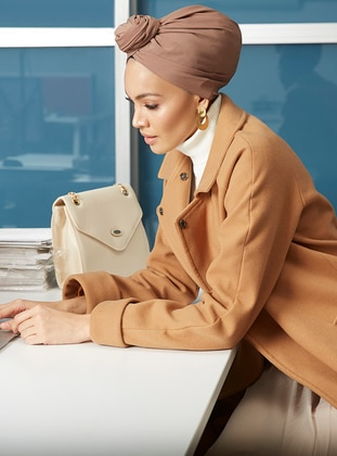 Camel - Fully Lined - Point Collar - Viscose - Coat
