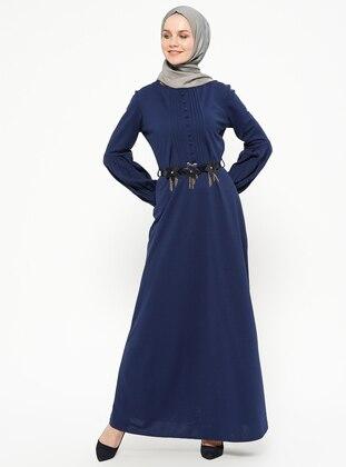 Navy Blue - Indigo - Crew neck - Unlined - Dresses