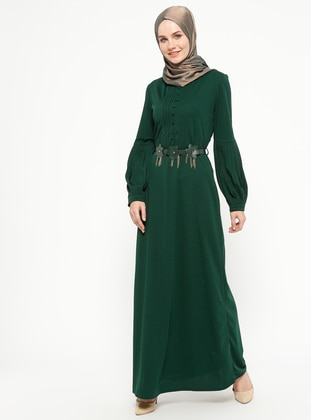 Green - Unlined - Crew neck - Dresses