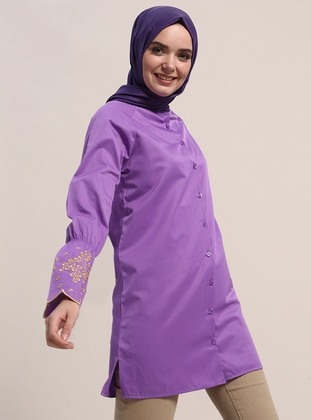 Purple - Button Collar - Cotton - Tunic