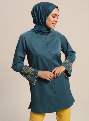 Emerald - Button Collar - Cotton - Tunic