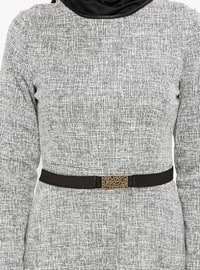 Gray - Crew neck - Unlined - Dresses - ZENANE