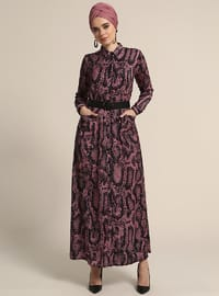 Salmon - Dusty Rose - Multi - Point Collar - Unlined - Dresses
