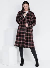 Maroon - Plaid - Fully Lined - Plus Size Overcoat