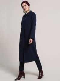 Navy Blue - Fully Lined - Point Collar - Viscose - Coat