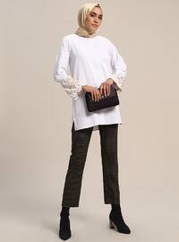 White - Ecru - Button Collar - Cotton - Tunic