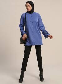 Blue - Button Collar - Cotton - Tunic