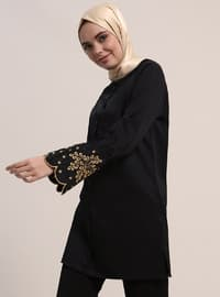 Black - Button Collar - Cotton - Tunic