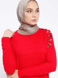 Red - Crew neck - Acrylic - Jumper