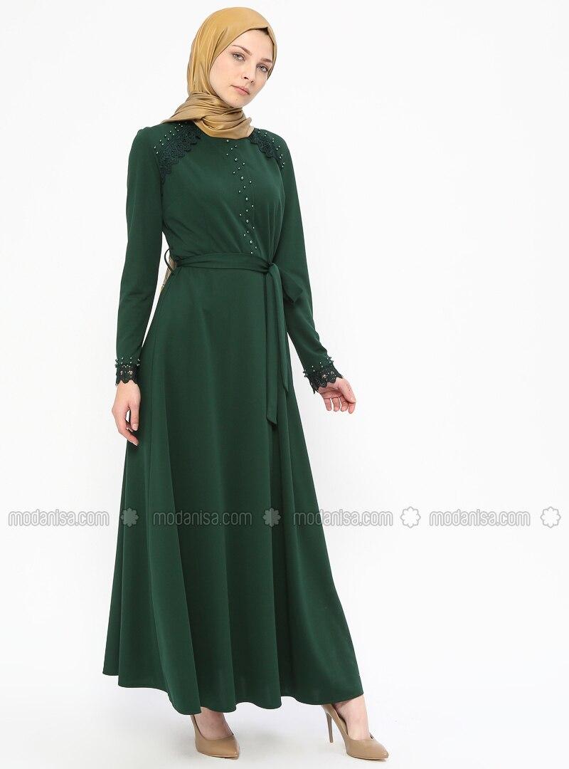 1b17bfd92bd39 İncili Güpür Detaylı Abiye Elbise - Yeşil