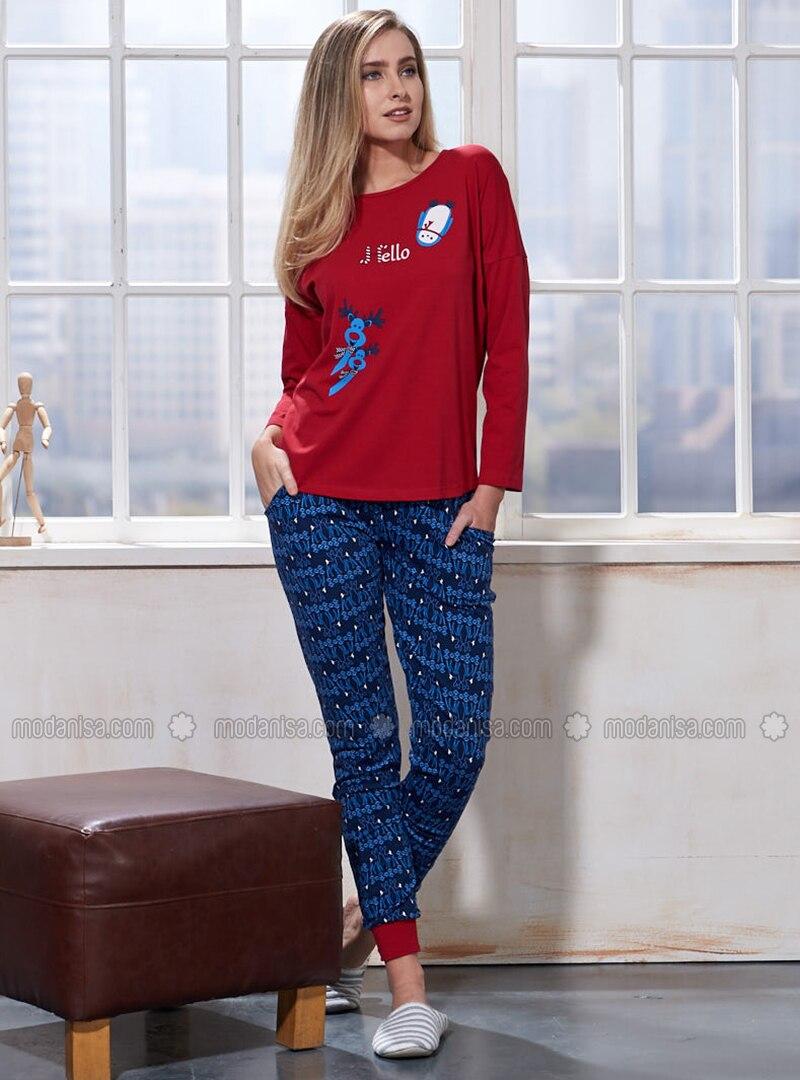 Maroon - Crew neck - Multi - Pyjama