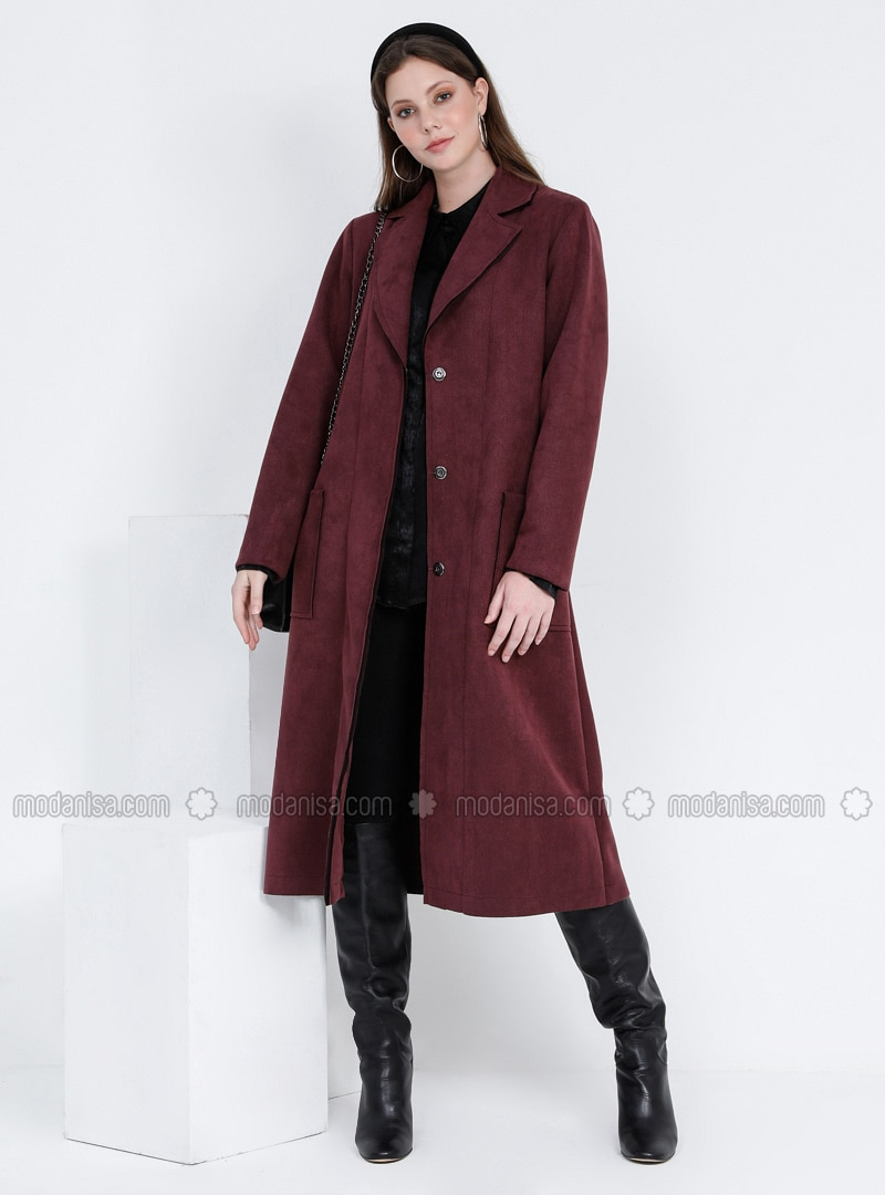 Plum - Unlined - Point Collar - Plus Size Coat