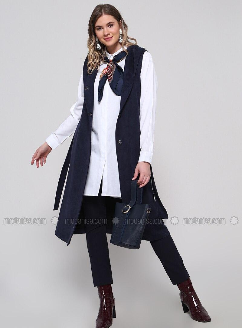 Navy Blue - Cotton - Plus Size Vest