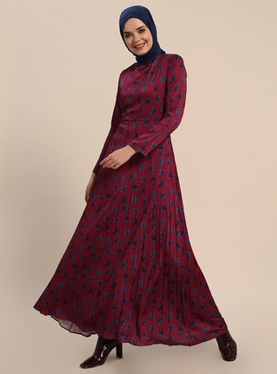 Maroon - Floral - Crew neck - Fully Lined - Dresses