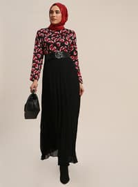 Red - Black - Multi - Crew neck - Fully Lined - Dresses