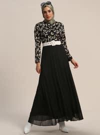 Yeşil - Siyah - Çok renkli - Yuvarlak yakalı - Astarlı kumaş - Elbise