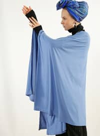 Blue - Crew neck - Unlined - Poncho